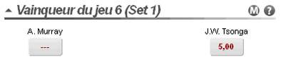 Betclic : Pari Vainqueur du Jeu 6 Set 1 chez Betclic