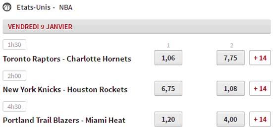 Basketball : exemples de cotes élevées en NBA chez l'opérateur Winamax