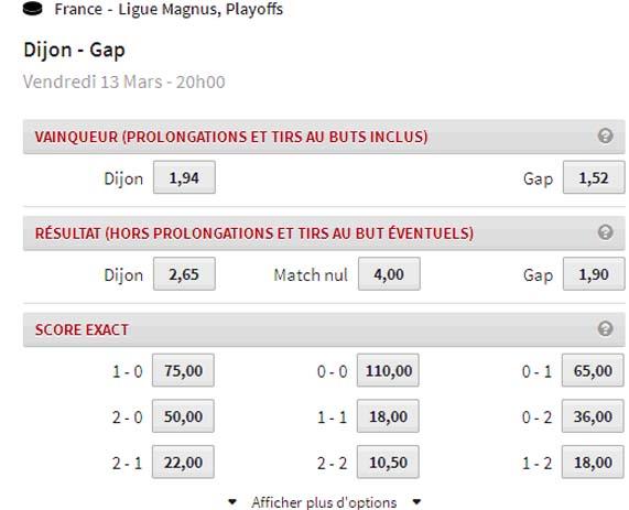 Les cotes chez Winamax de quelques types de paris sur Dijon-Gap en Play-offs 2015 de la Ligue Magnus
